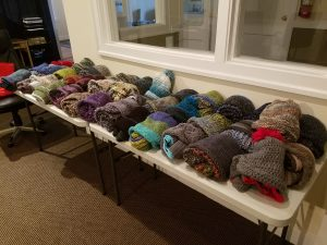 hand-knit hats and scarves for Turpin Cares