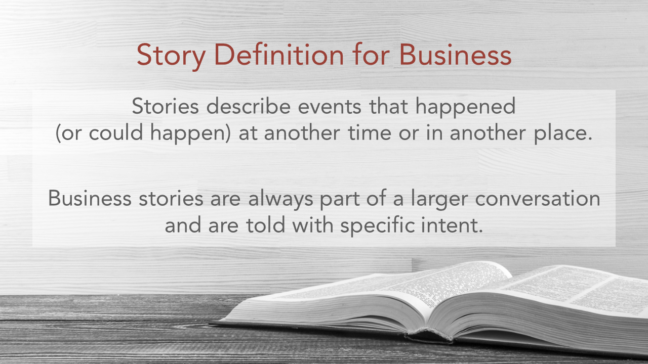 An image with a definition for business storytelling. Text: Stories describe events that happened (or could happen) at another time or in another place. Business stories are always part of a larger conversation and are told with specific intent.