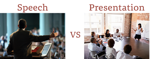 Demonstration of the large difference between a speech and a business presentation.